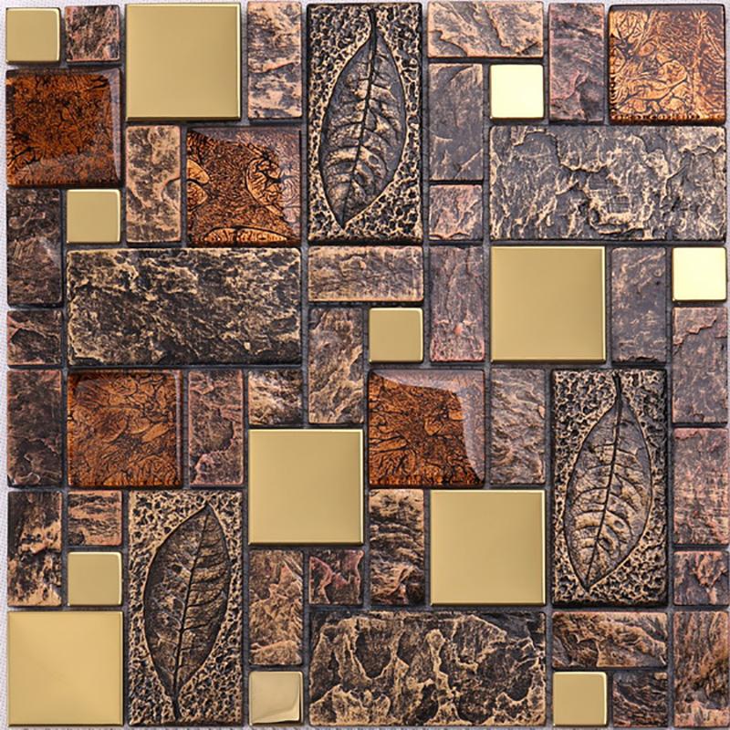 Luxusbadezimmer-Design-Glitter-Kristallglas mischte goldene Metallmosaik-Fliese für Wand-Dekoration