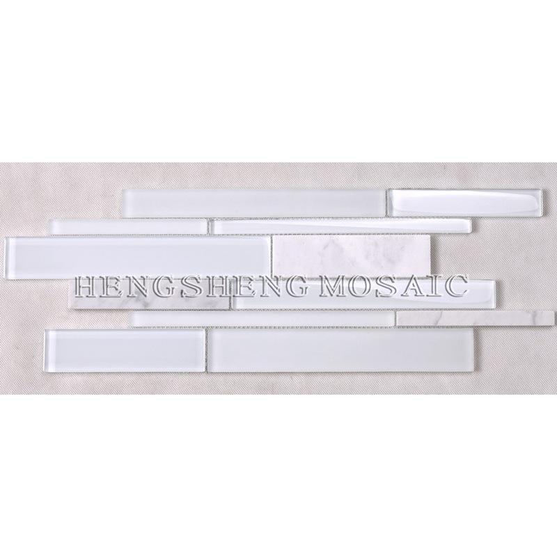 HSD131 Heißer Verkauf Neueste Design Weiß Carrara Marmor Gemischt Glasmosaik Küche Backsplash U-bahn Fliese