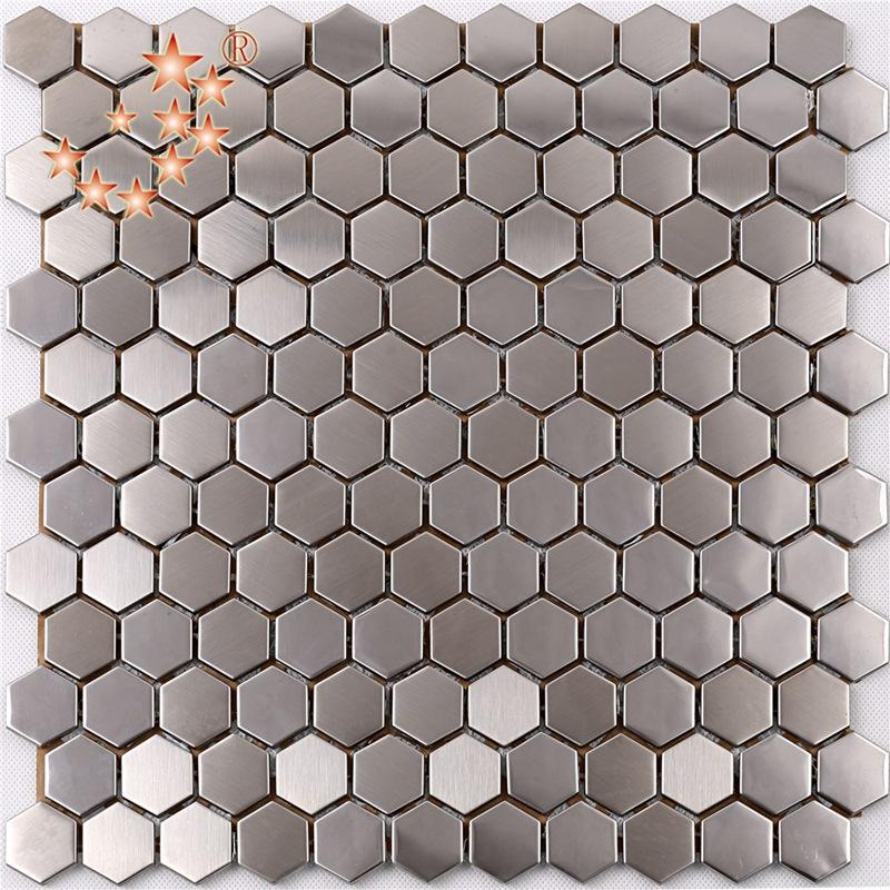 sa16 premium - qualität sechseck aus rostfreiem stahl, metall - mosaik küche spritzer fliesen