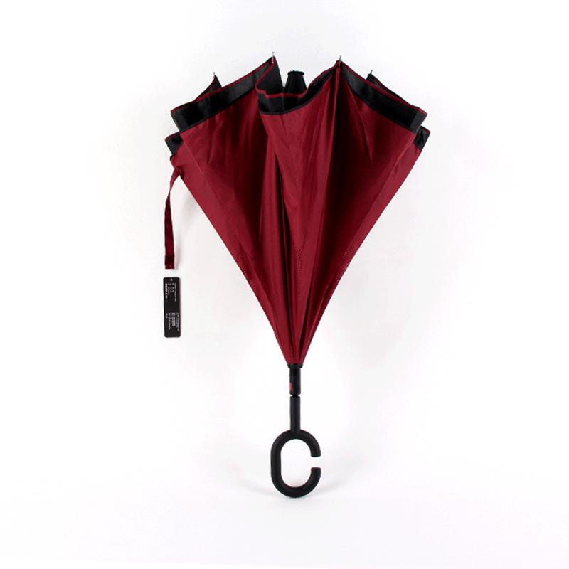 2019 Werbegeschenke Auto öffnen Manul schließen kundenspezifischer Druck spezieller Regenrückseite winddichter umgekehrter Regenschirm