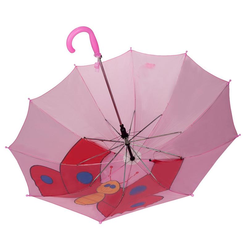 Der Spitzenverkauf, der rosa Schmetterling darstellt, stellt Tierkindergewohnheitselbstoffenen Regenschirm frei