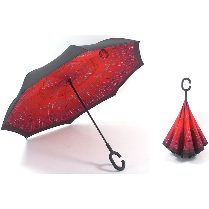 23-Zoll-Regenschirm nach oben gerader Regenschirm mit Rückwärtsgang