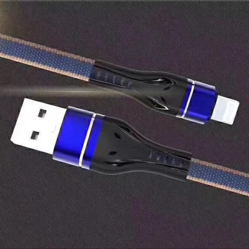 Geflochtenes, schnelles Aufladen Flaches Aluminiumgehäuse Flex Biegung Verwirrungsfreies USB-Datenkabel für Micro-USB, Typ C, iPhone-Blitzladung und Synchronisierung