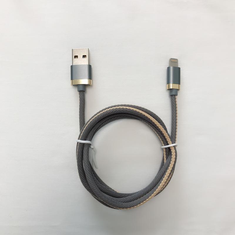 Geflochtene 3,0A-Schnellladefunktion für rundes Aluminiumgehäuse USB-Datenkabel für Micro-USB, Typ C, iPhone-Blitzladung und Synchronisierung