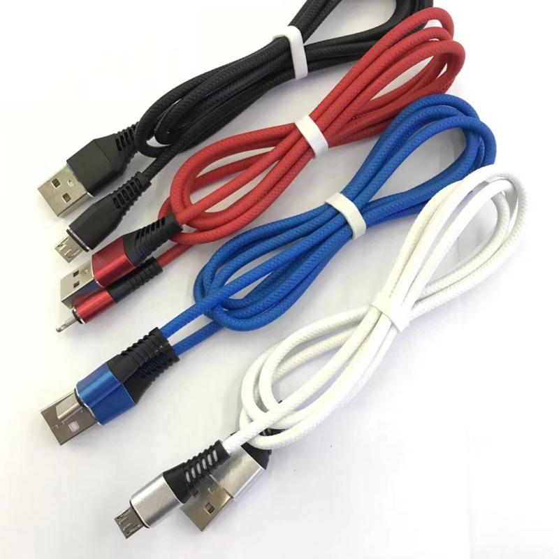 TPE-Schnellladegerät für rundes Aluminiumgehäuse Flexibles USB-Datenkabel für Micro-USB, Typ C, iPhone-Blitzladung und Synchronisation