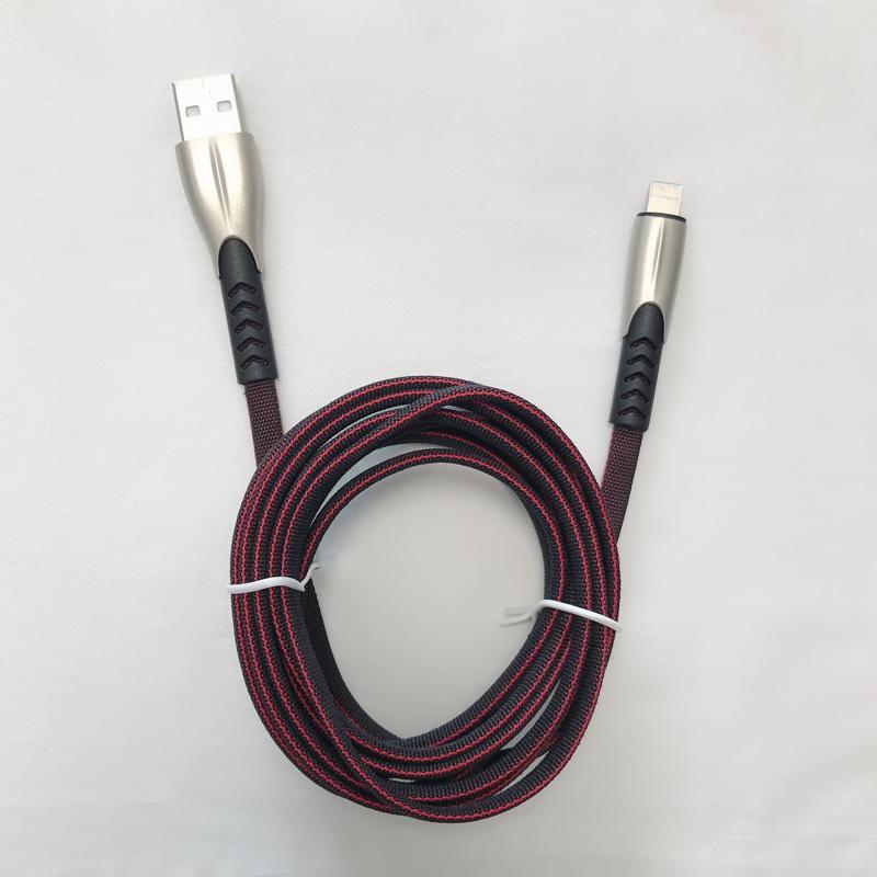 2 Meter 1.8A Geflochtene Schnellladung Flache Zinklegierung Gehäuse Tangle Free Flex Verbiegung USB Datenkabel für Micro USB, Typ C, iPhone Blitzladung und Synchronisation