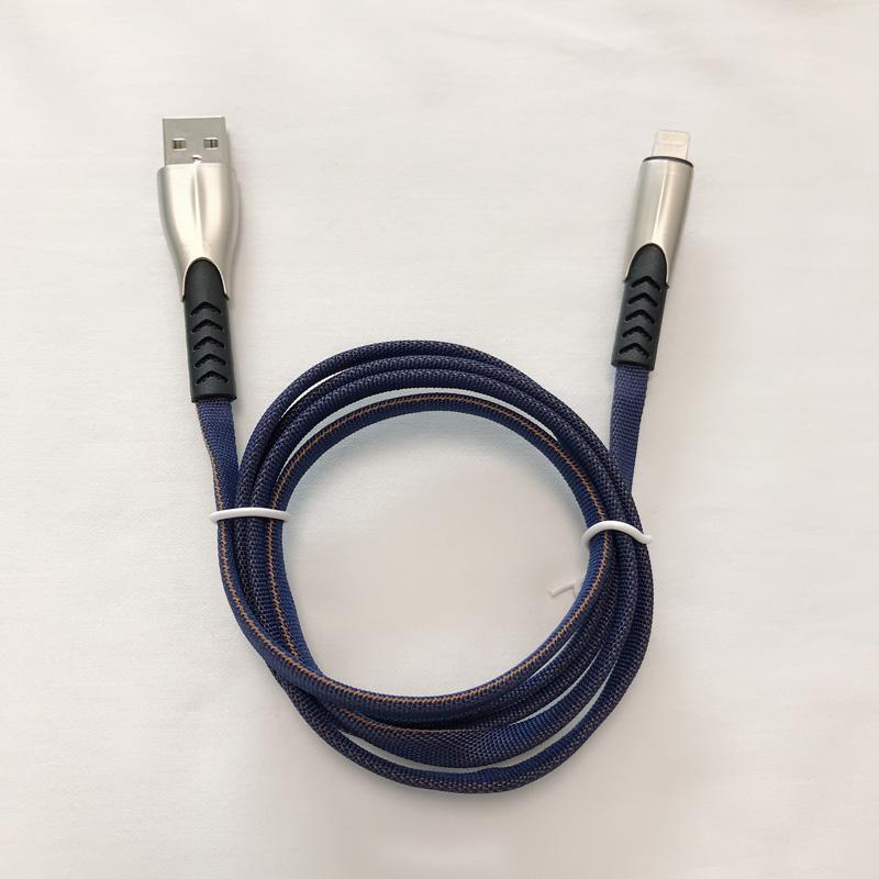 3.8A Geflochtene, schnellladende, flache Zink-Legierung Gehäuse Verwicklung Free Flex Biegen USB-Datenkabel für Micro-USB, Typ C, iPhone Blitzladung und Synchronisation