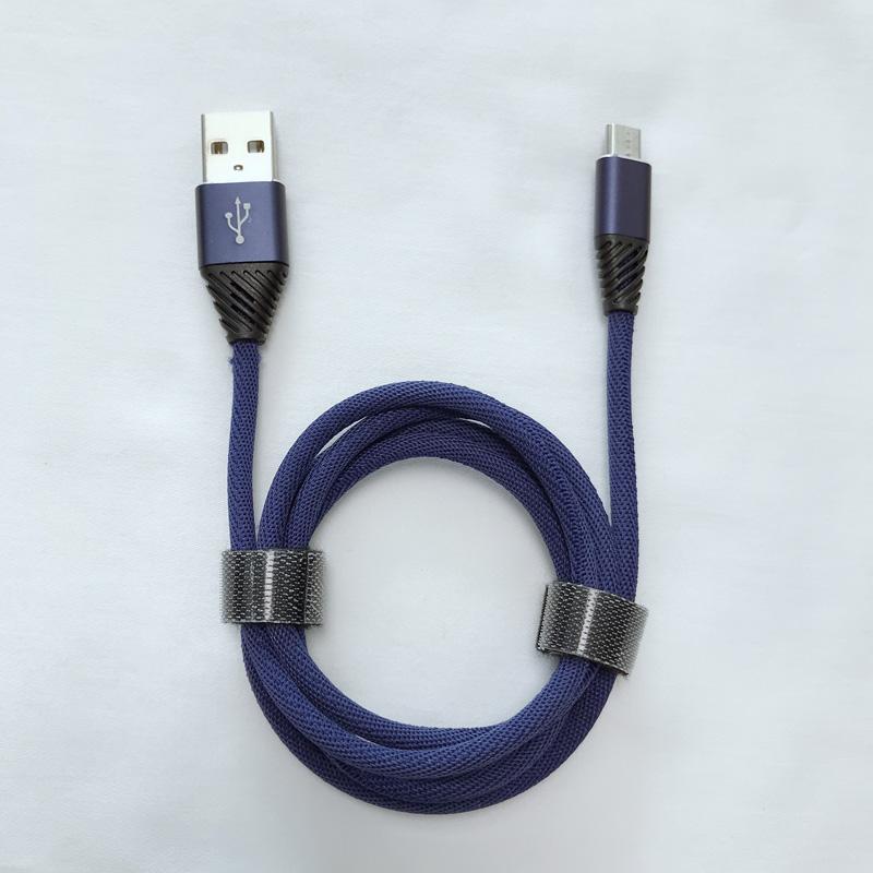 Geflochtenes, schnelles Aufladen rundes Aluminiumgehäuse Flexibles USB-Datenkabel für Micro-USB, Typ C, iPhone-Blitzladung und Synchronisierung