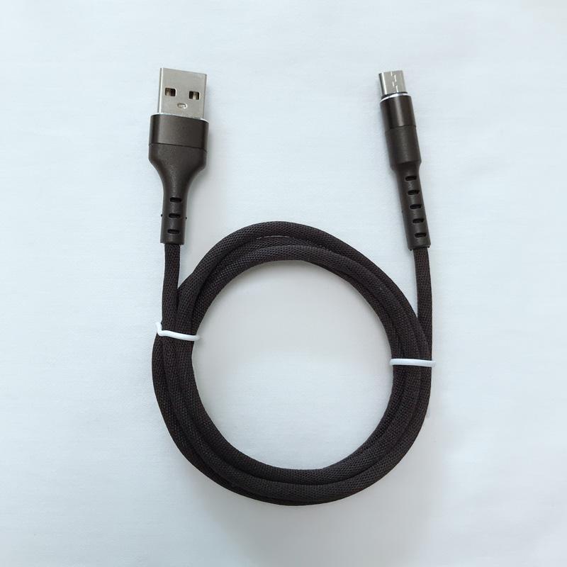 Schnelles Aufladen rundes Aluminiumgehäuse Geflochtenes Flex-USB-Datenkabel für Micro USB, Typ C, iPhone Blitzladung und Synchronisation