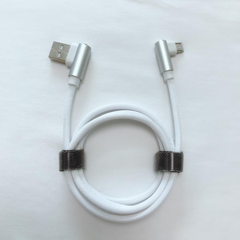 Doppelter rechtwinkliger, geflochtener, runder Aluminium-USB-Datenkabel für schnelles Aufladen für Micro-USB, Typ C, iPhone-Blitzladung und Synchronisierung