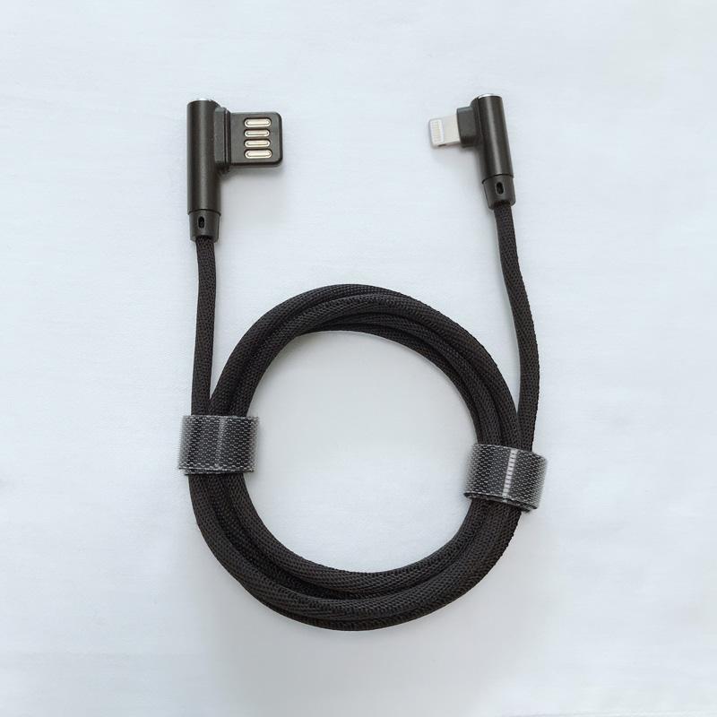Doppelgesicht USB 2.0 Doppelter rechtwinklig Geflochtenes, schnelles Aufladen rundes Aluminiumgehäuse USB-Datenkabel für Micro USB, Typ C, iPhone Blitzladung und Synchronisation