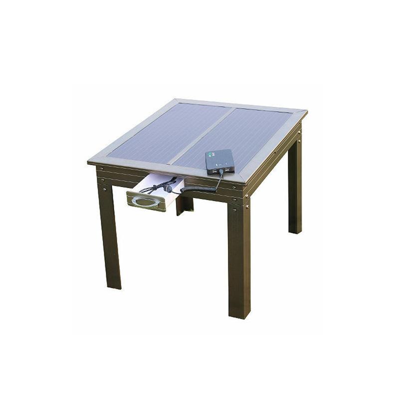 Solar Power Patio Tisch in Bronze mit Powerbank 5 - Lädt tragbare Geräte