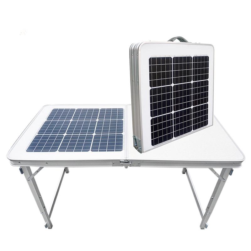 Tragbarer faltbarer Solartisch zum Aufladen für Campingküche im Freien mit zusammenklappbarer Arbeitsplatte