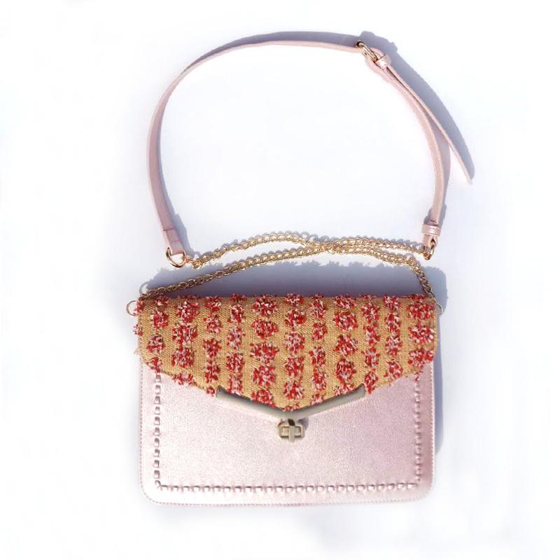 Rosa Stroh Weben und PU-Leder Damenmode Umhängetasche