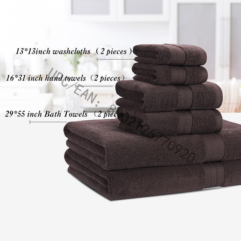 JMD TEXTILE Badetücher Set, Gekämmte Baumwolltücher Grau 6er-Set Küche Pool Haushalt, Handtücher Dauerhaft saugfähiges, bequemes, extra großes Handtuch (2 Waschlappen, 2 Handtücher, 2 Badetücher)