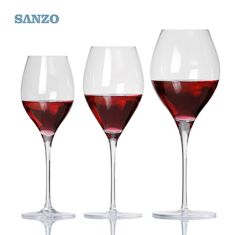 SANZO Black Stem Lismore Ballon Weinglas handgefertigt bleifrei Kristall gravierte Gläser dicke Gläser