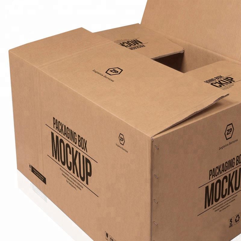 Heißer verkauf benutzerdefinierte große 5 schichten logo marke gedruckt kraftpapier versand lieferung großen karton